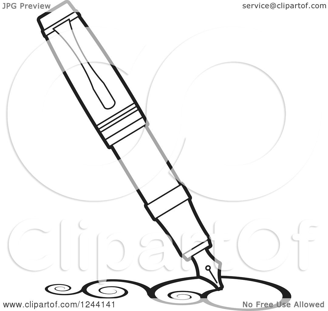 1080x1024 Clipart Of A Vintage Black And White Fountain Pen Nib Drawing