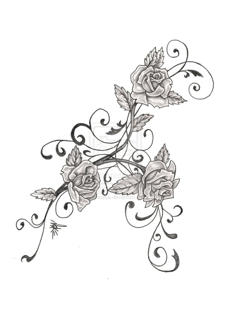 762x1048 Collection Of Swirls And Rose Tattoo Designs