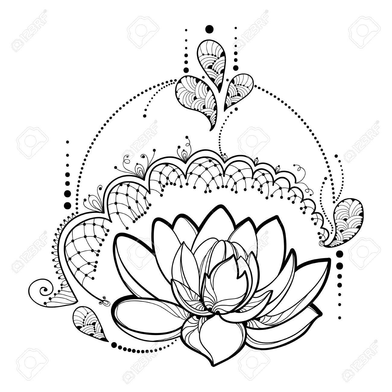 1300x1300 Drawing With Outline Lotus Flower, Decorative Lace And Swirls