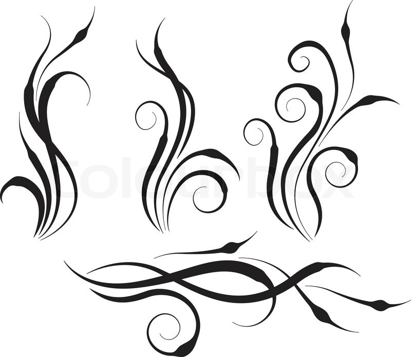 800x695 Four Swirl Abstract Branches Of Abstract Plants Stock Vector