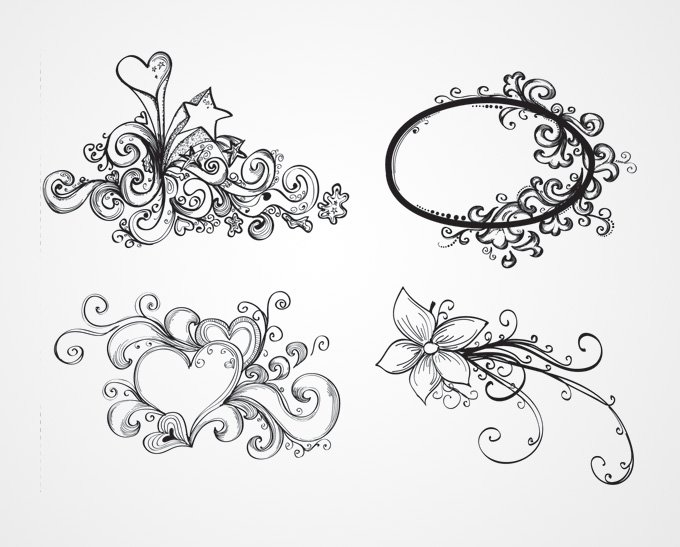 680x547 Hand Drawn Swirls Amp Flowers Vector Ornaments (Free), Vector