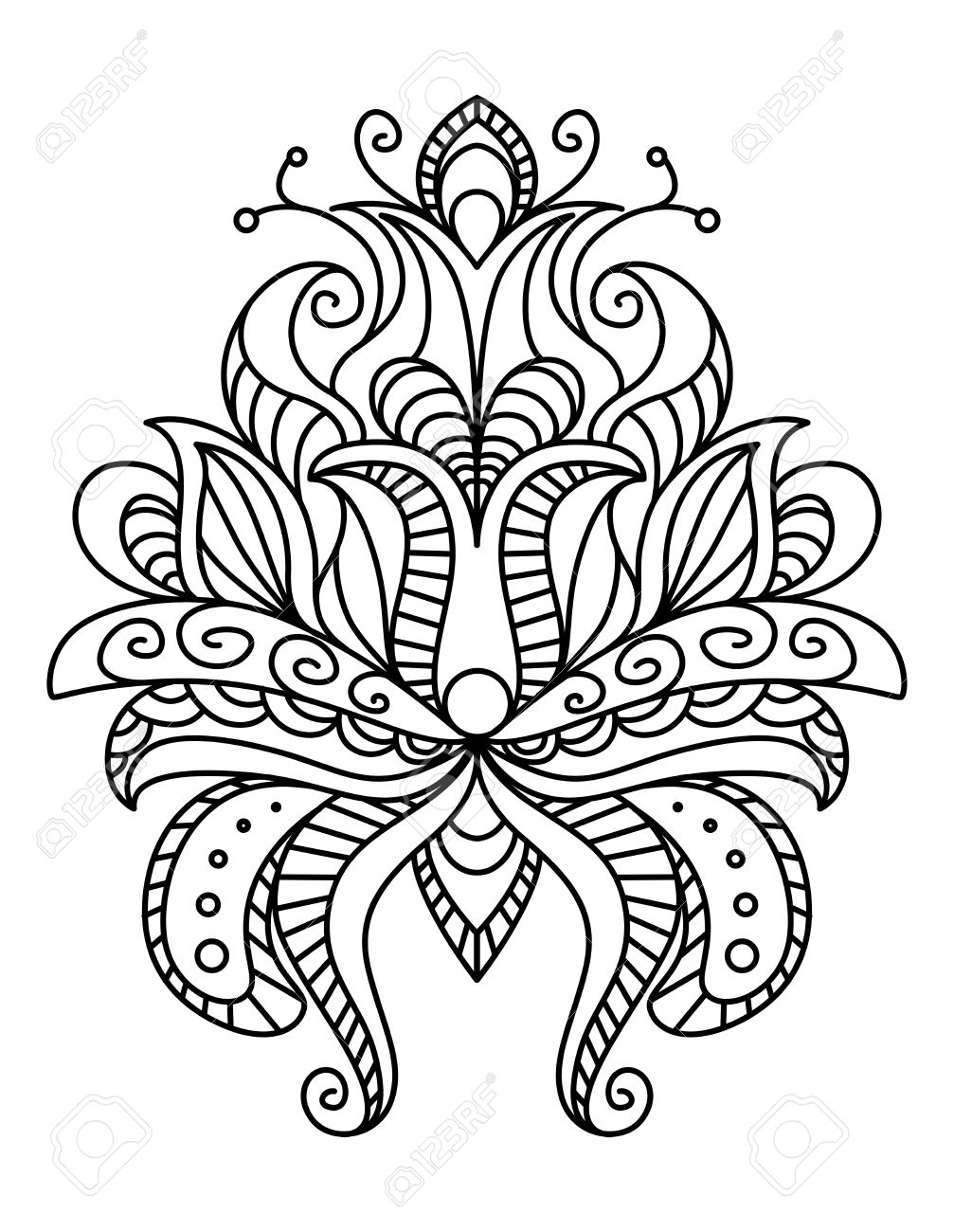 1007x1300 Ornate Paisley Floral Element In A Black And White Line Drawing
