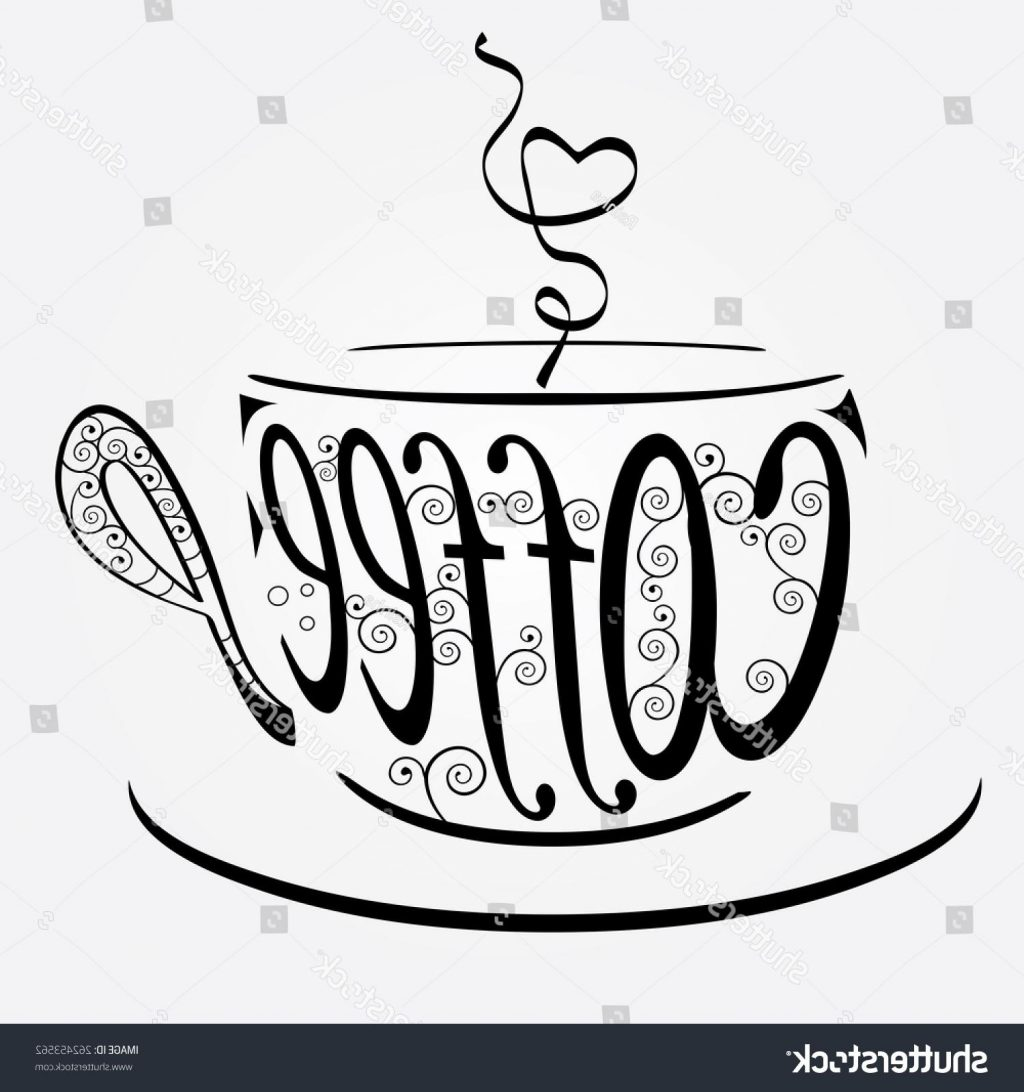 1024x1092 Top 10 Stock Vector Coffee Cup With Stylized Word Swirls Drawing