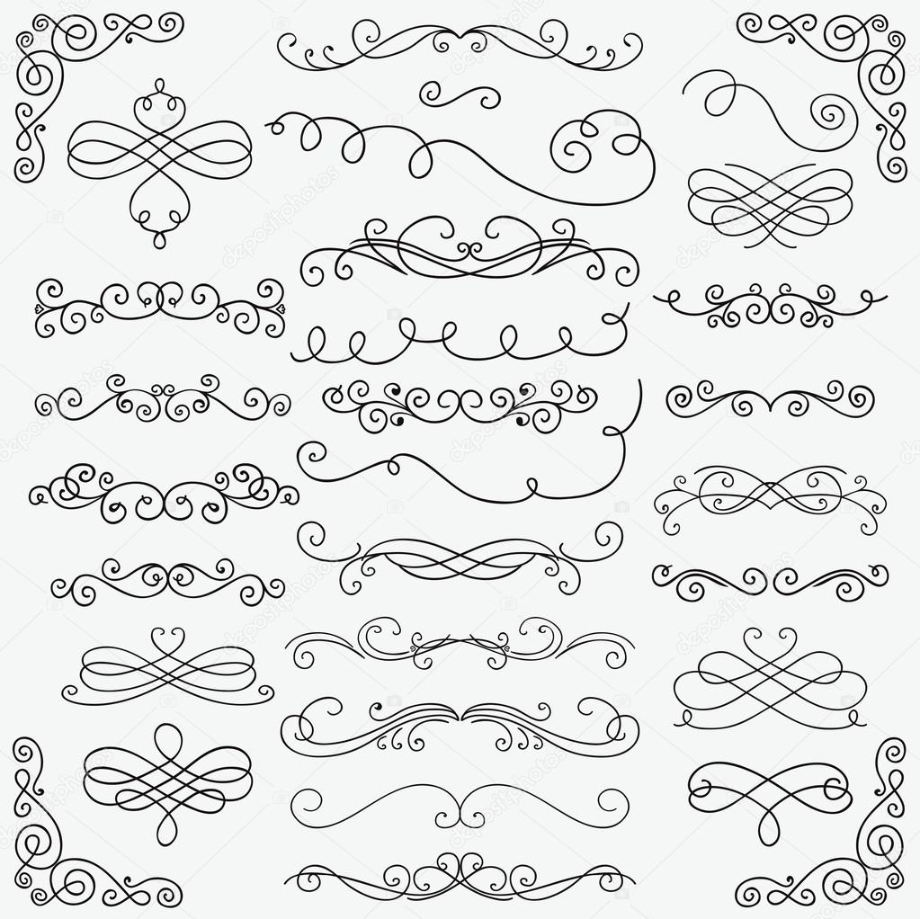 1023x1022 Vector Black Doodle Hand Drawn Swirls Collection Stock Vector