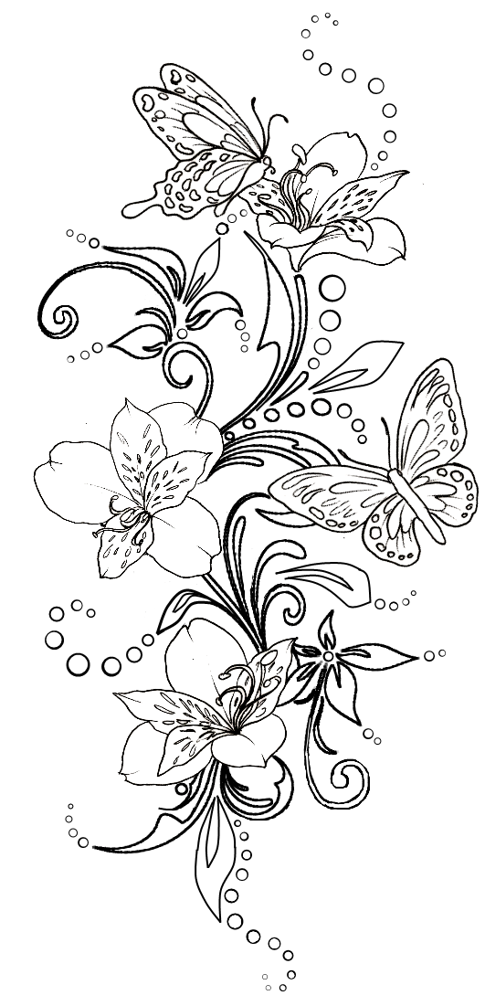 531x1101 Butterflies And Flowers With Swirls Tattoo By ~metacharis