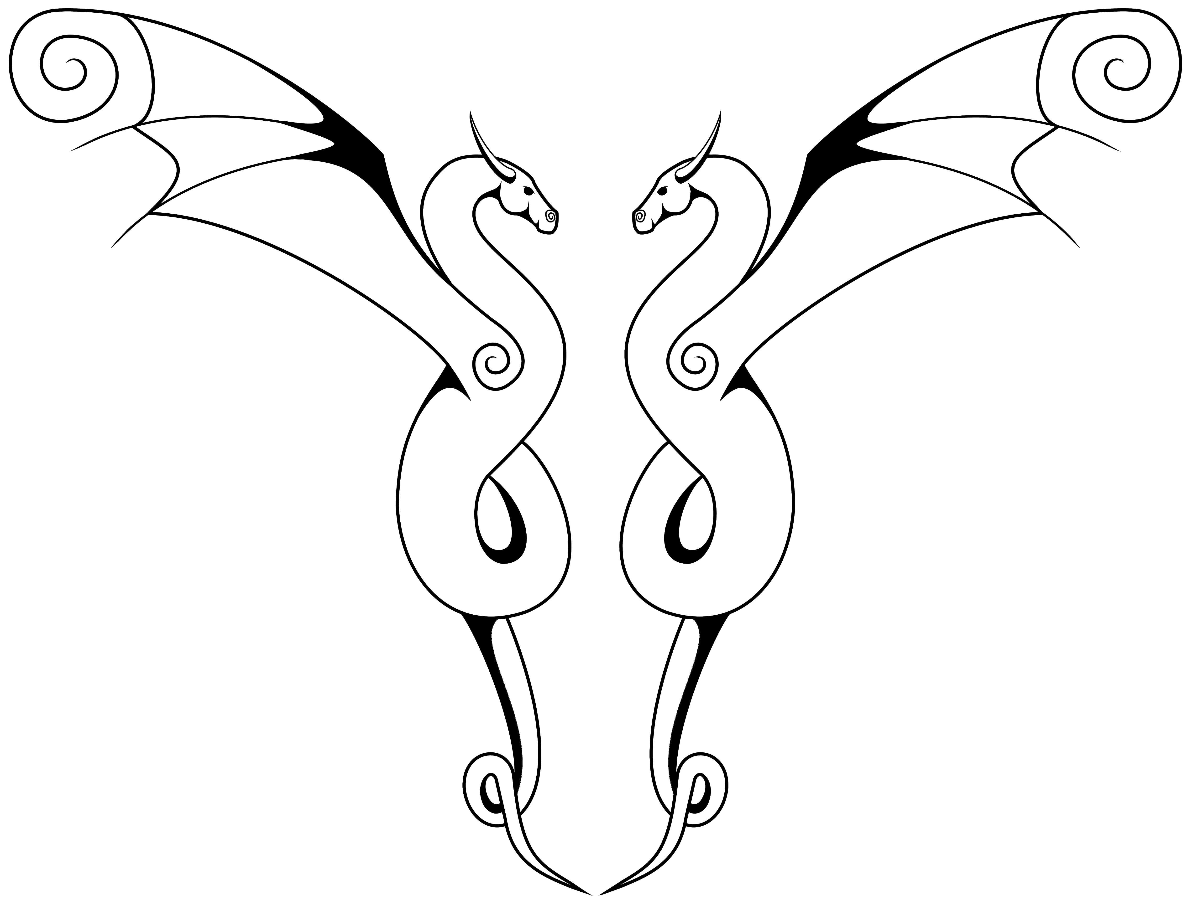 5000x3817 Dual Swirly Dragons Masonillustration