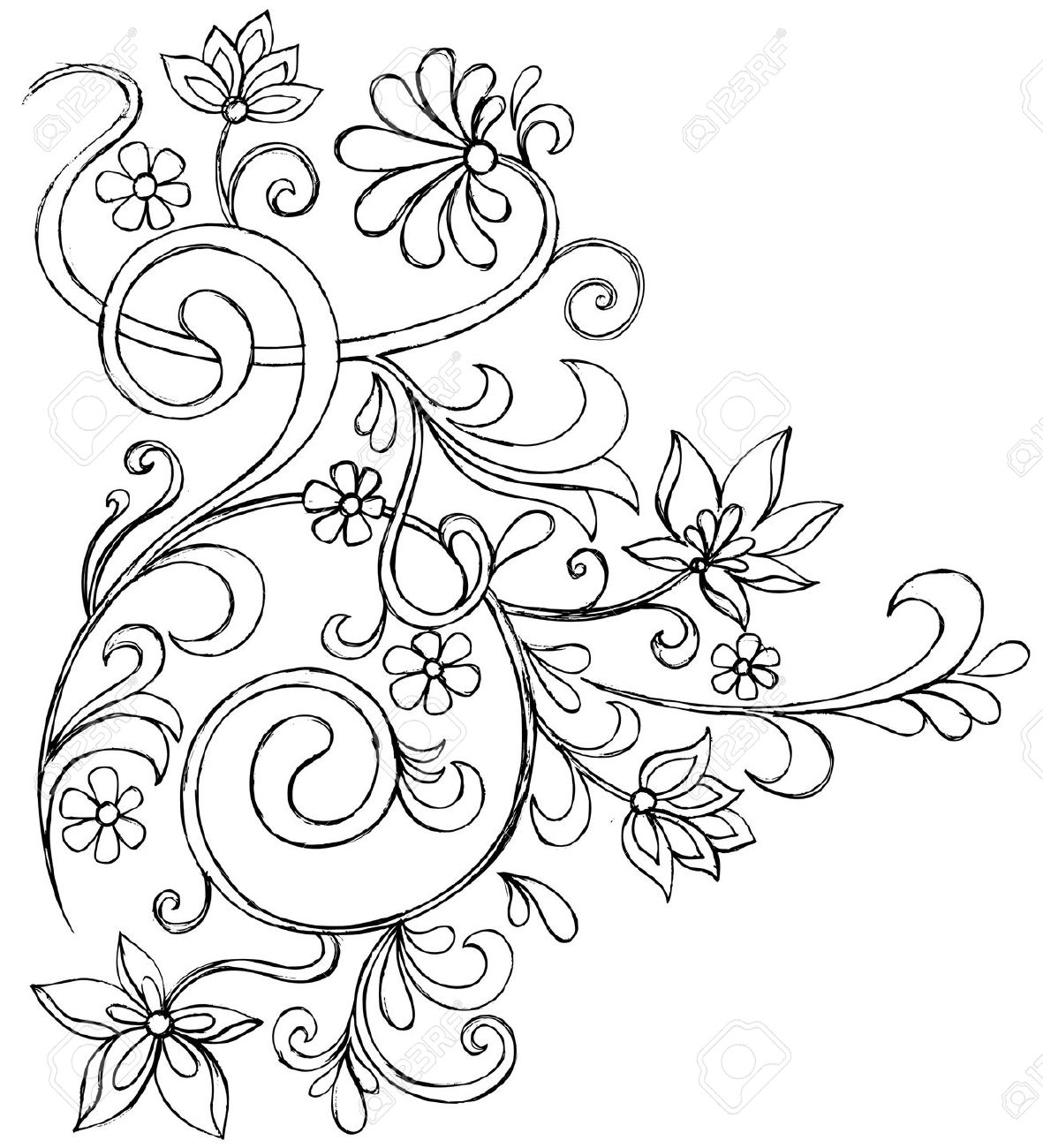 1181x1300 Sketchy Doodle Vines And Flowers Scroll Vector Drawing Royalty