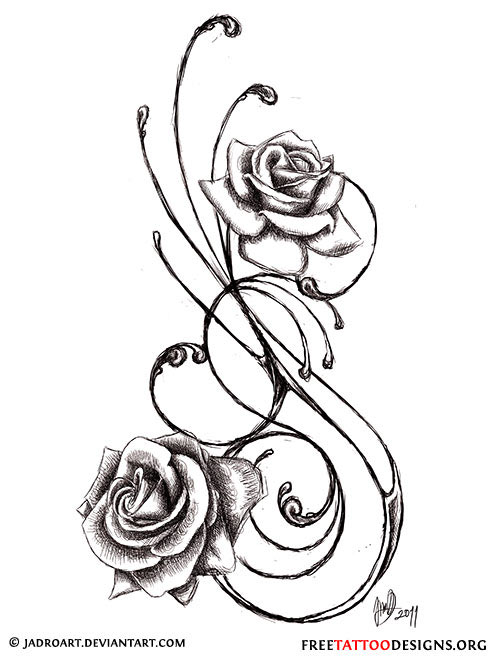 495x658 Swirly Black And Grey Roses Tattoo Design
