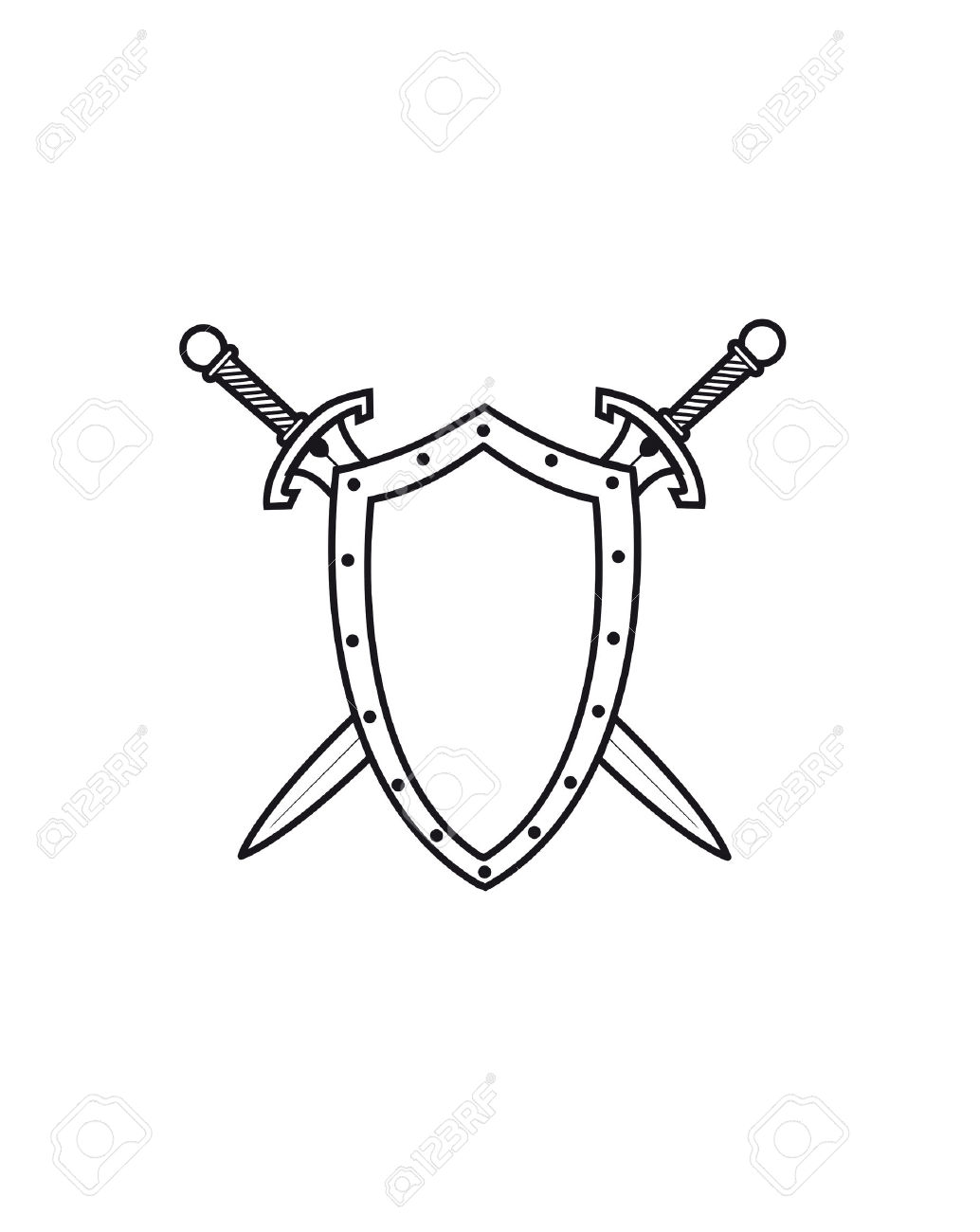 1034x1300 Coat Of Arms. Vector Illustration. (Shield, Sword, Arms
