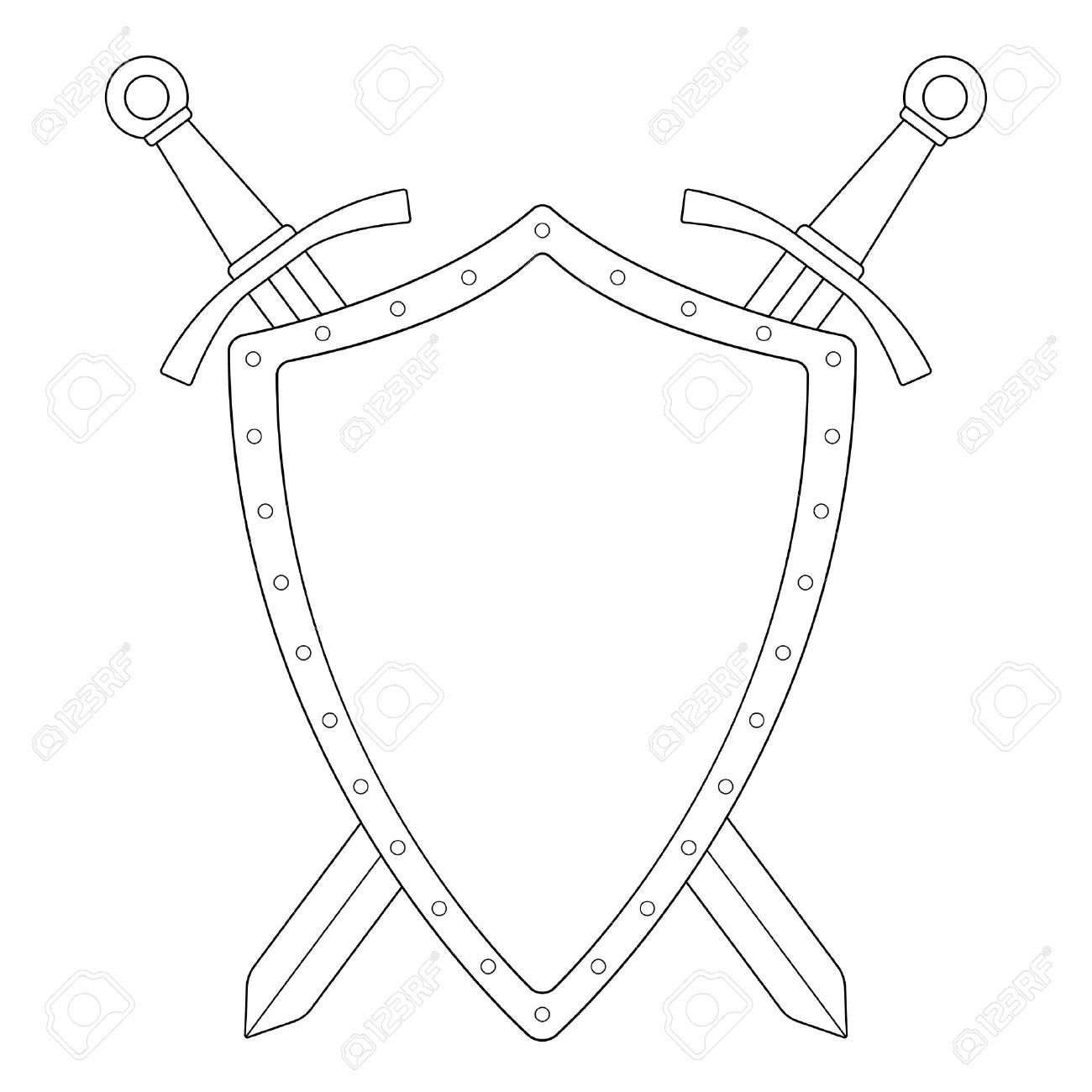 1300x1300 Crossed Swords With Shield