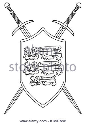 300x438 Crossed Swords And Shield Outline Stock Vector Art Amp Illustration