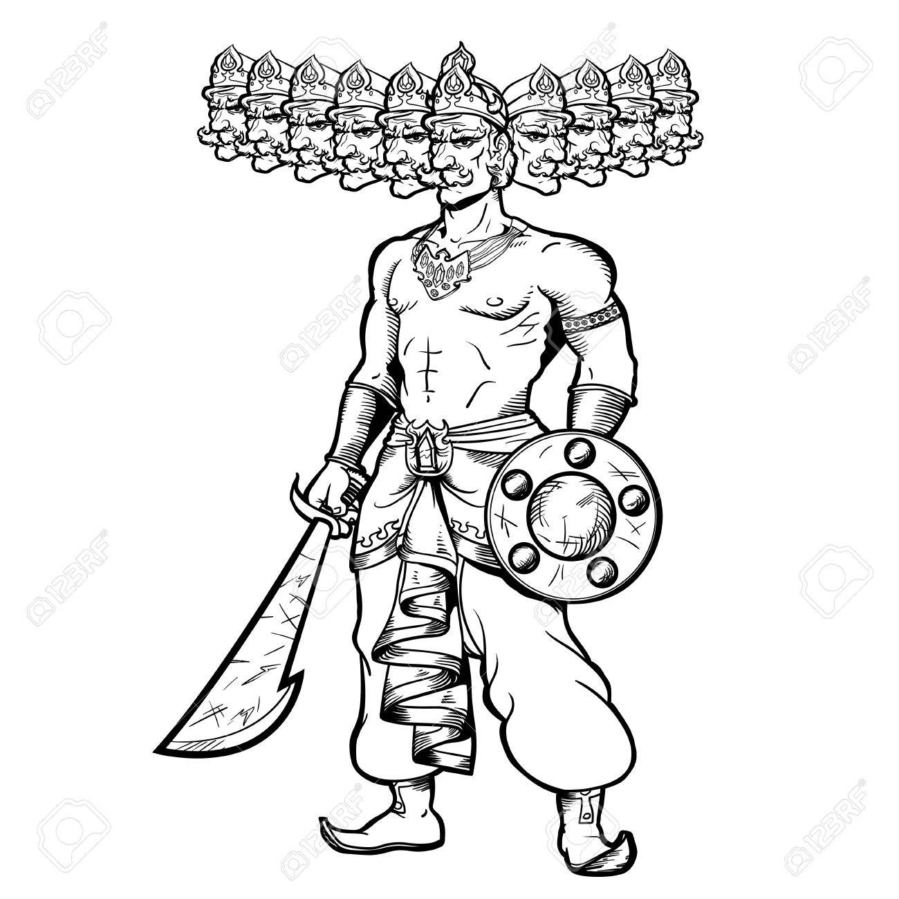 1300x1300 India God With Ten Goals. Ravana Holding A Sword And Shield. Stock