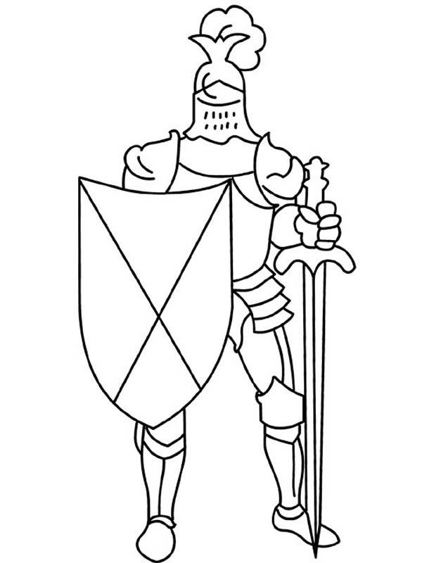 600x800 Knight Armor With Sword And Shield In Middle Ages Coloring Page