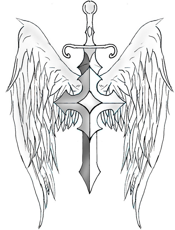 600x789 Sword And Shield Tattoo Designs Sword Wings By ~archerion