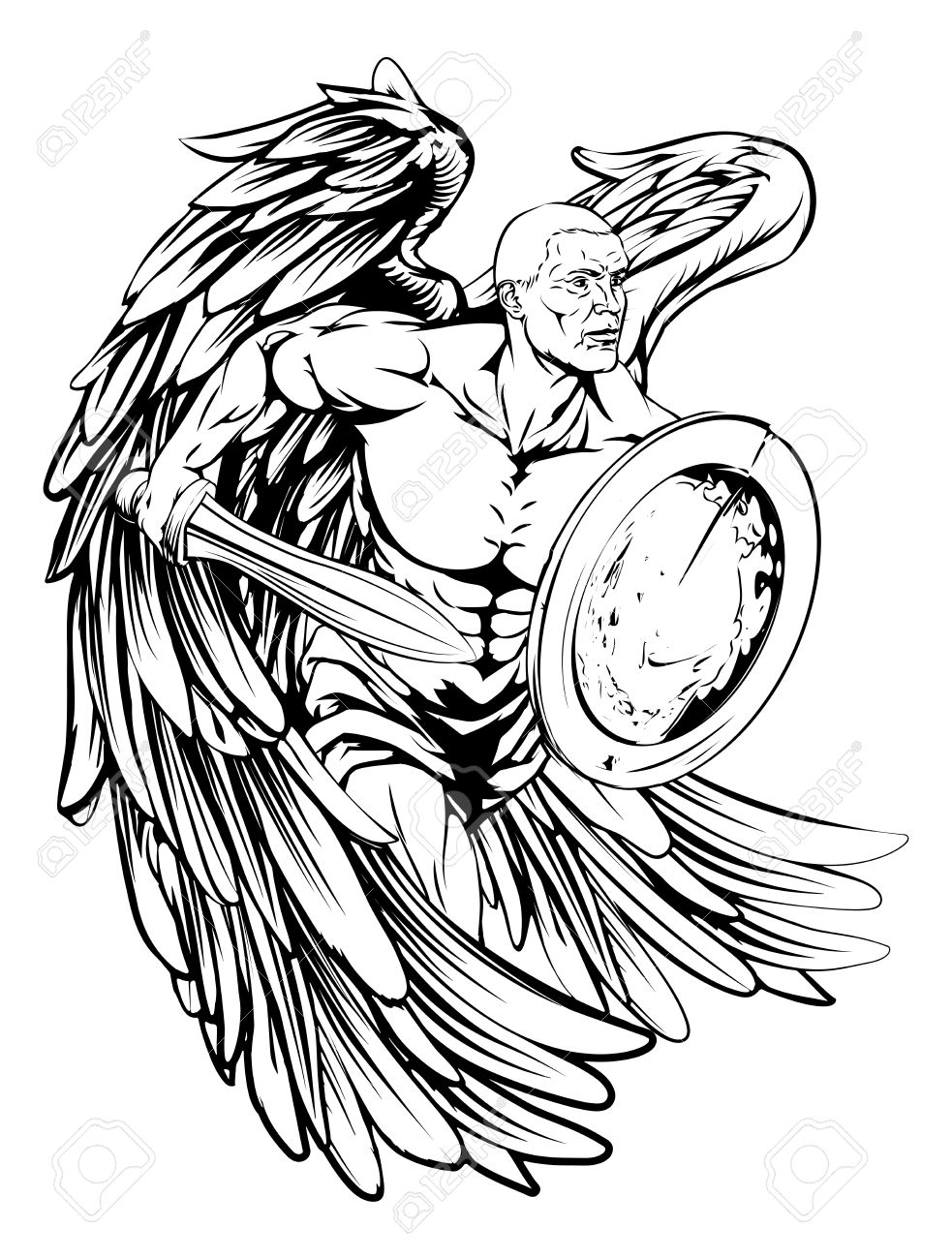 983x1300 An Illustration Of A Warrior Angel Character Or Sports Mascot