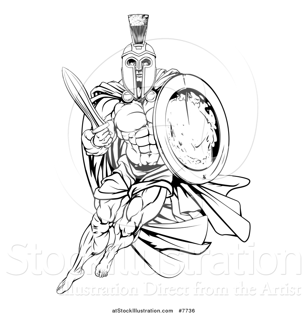 1024x1044 Vector Illustration Of A Black And White Strong Spartan Trojan