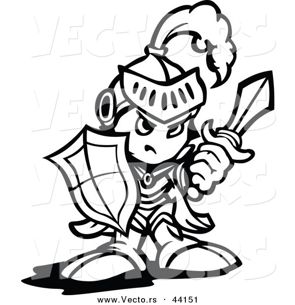 600x620 Vector Of A Strong Cartoon Knight Holding Up A Shield And A Sword