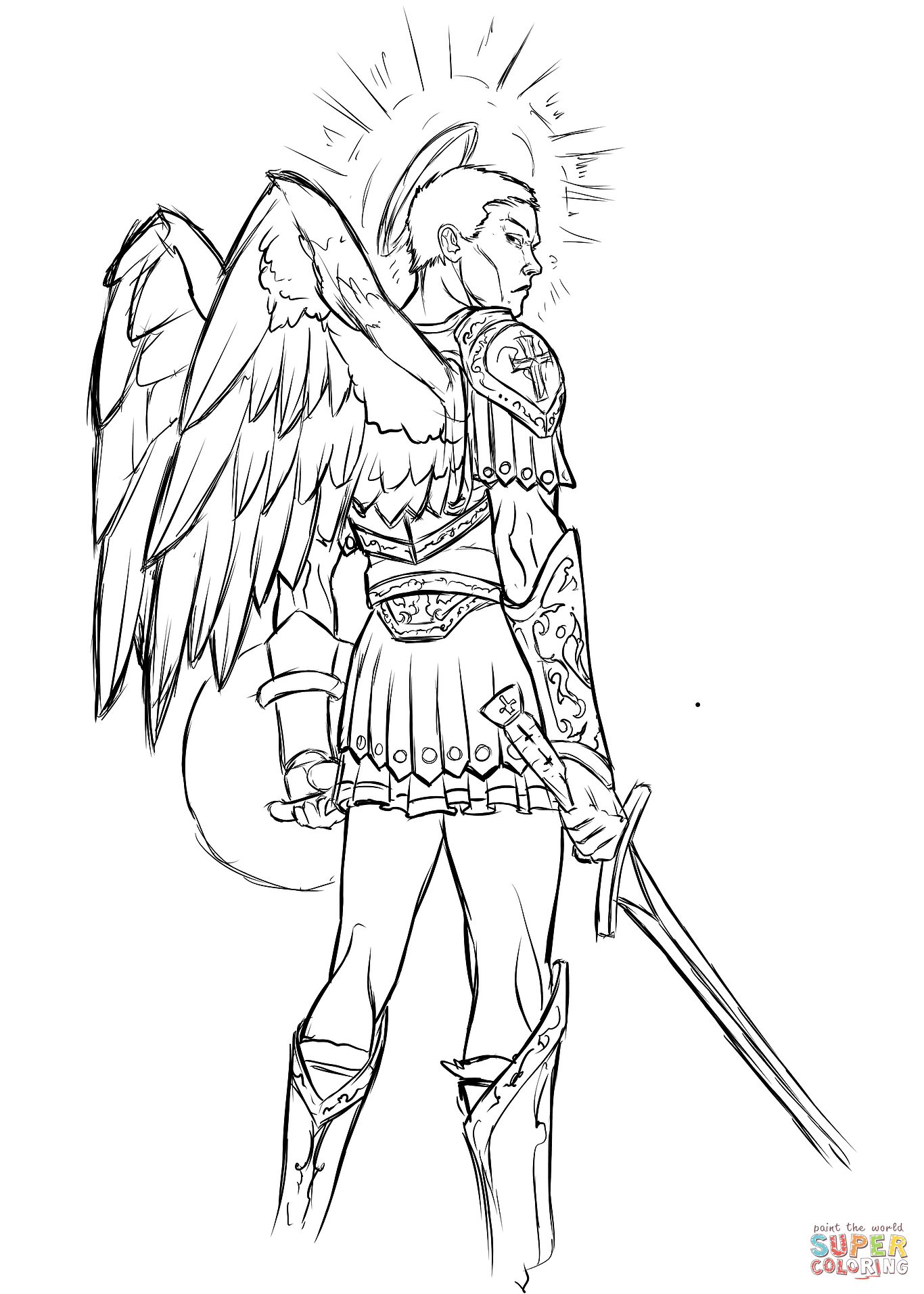 1366x1913 Angel With Sword And Shield Coloring Page Free Printable