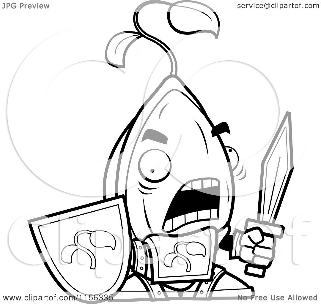 1080x1024 Cartoon Clipart Of A Black White Knight Seed With A Sword