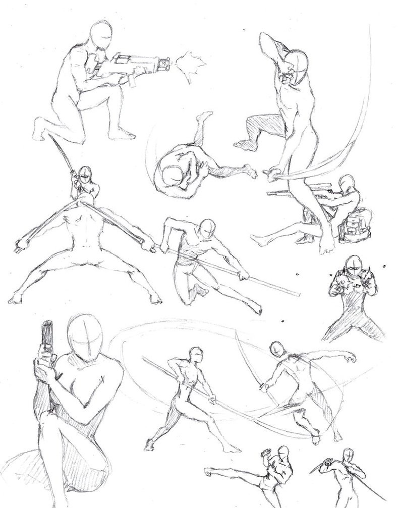 793x1007 Action Poses 2 By Shinsengumi77