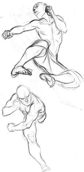 294x600 Flyingsidekick.jpg Character Sketch Drawing Design Illustration