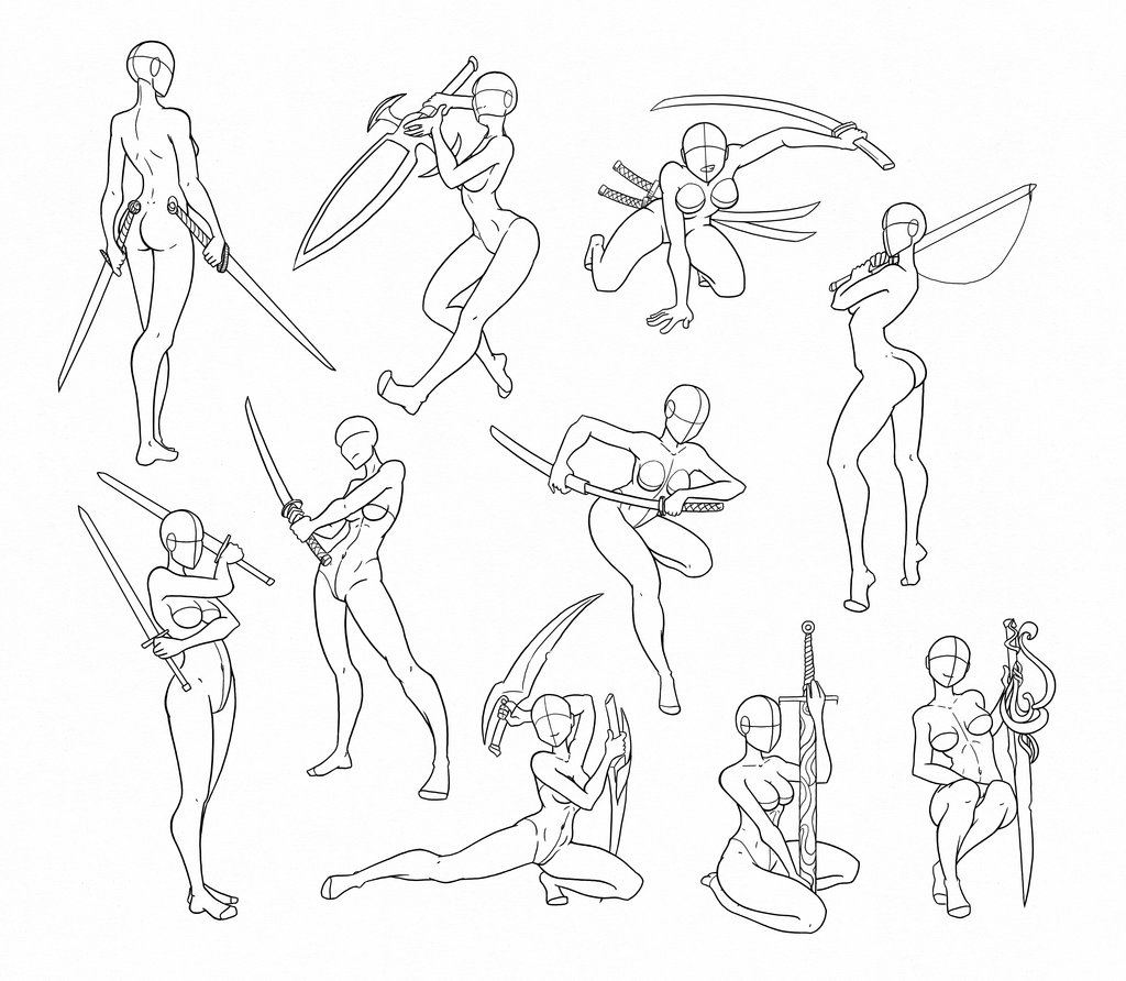 It is a photo of Nerdy Sword Poses Drawing