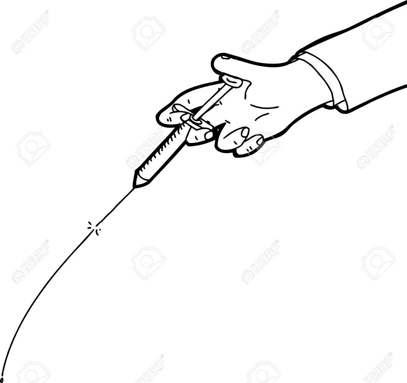 1300x1224 Hand Testing Syringe Outline Cartoon Over White Royalty Free