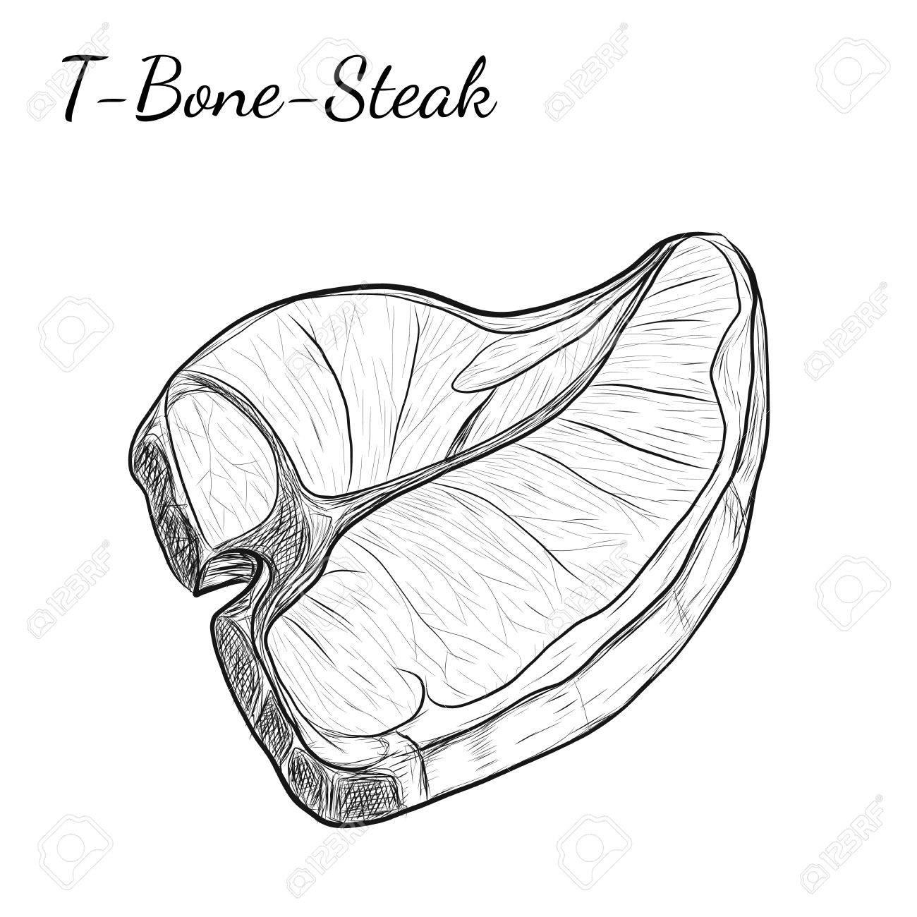 1300x1300 Hand Drawn Sketch T Bone Steak. Isolated Vector Food Illustration