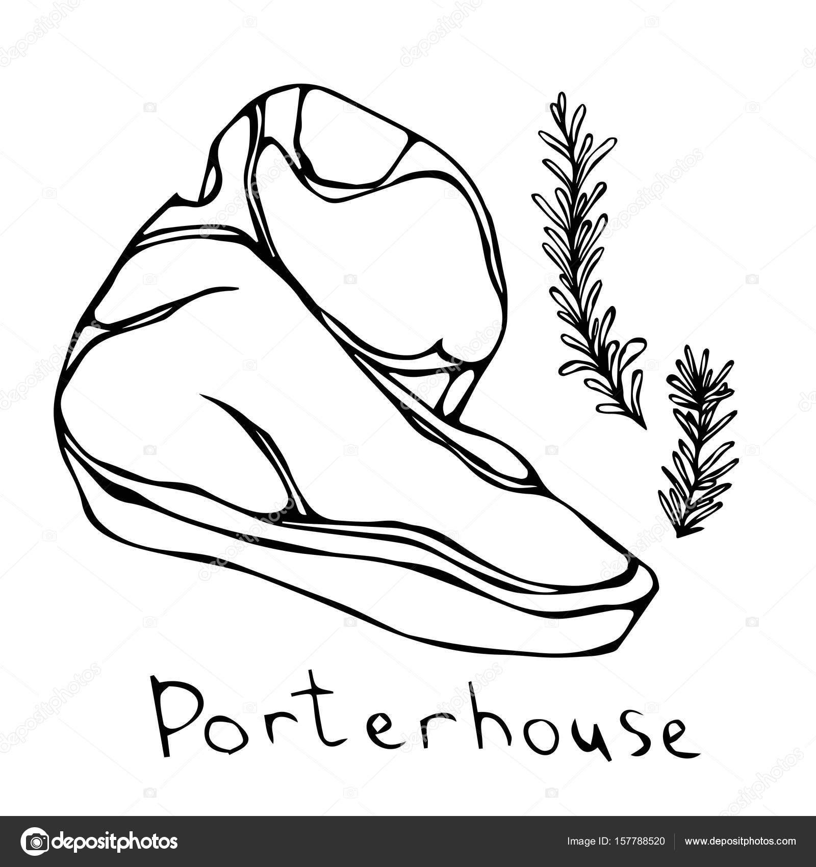 1600x1700 Porterhouse Steak Cut Vector Isolated On White Background. Outline