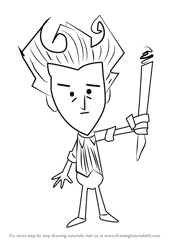 596x842 Learn How To Draw Wilson From Don'T Starve (Don'T Starve) Step By