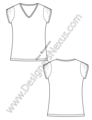 316x409 V11 Free Vector T Shirt Template Illustrator Fashion Technical