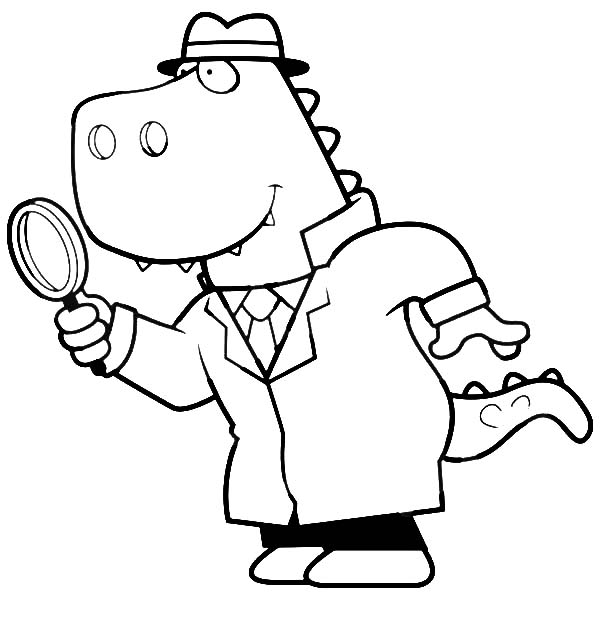 600x627 Cartoon Of A T Rex Detective Using A Magnifying Glass Coloring