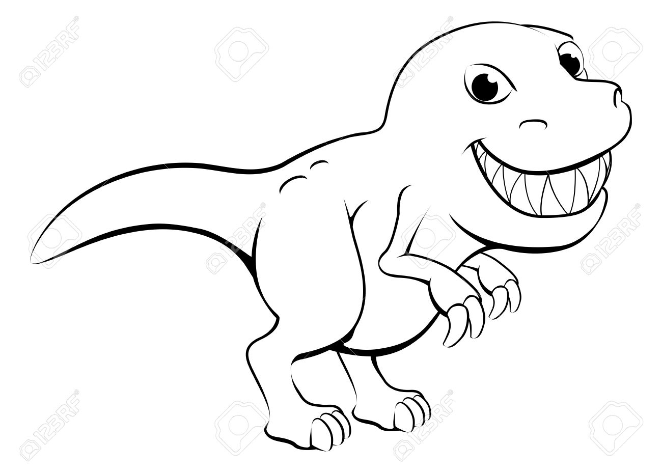 1300x929 T Rex Cartoon Drawing Black And White Illustration Of A Happy