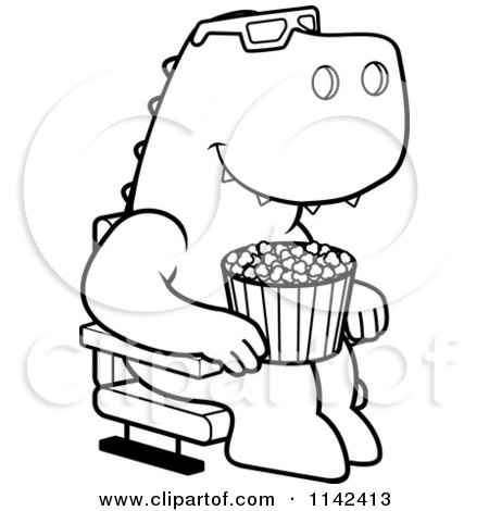 450x470 Cartoon Clipart Of A Black White T Rex Eating Popcorn