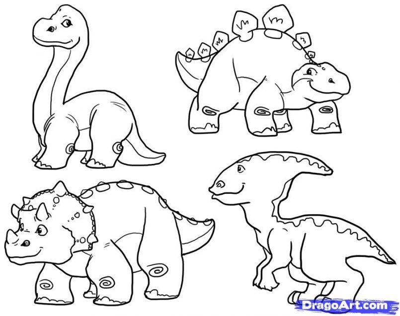 805x636 Drawing Cute Dinosaur Drawing Tutorial Also Dinosaur Pencil
