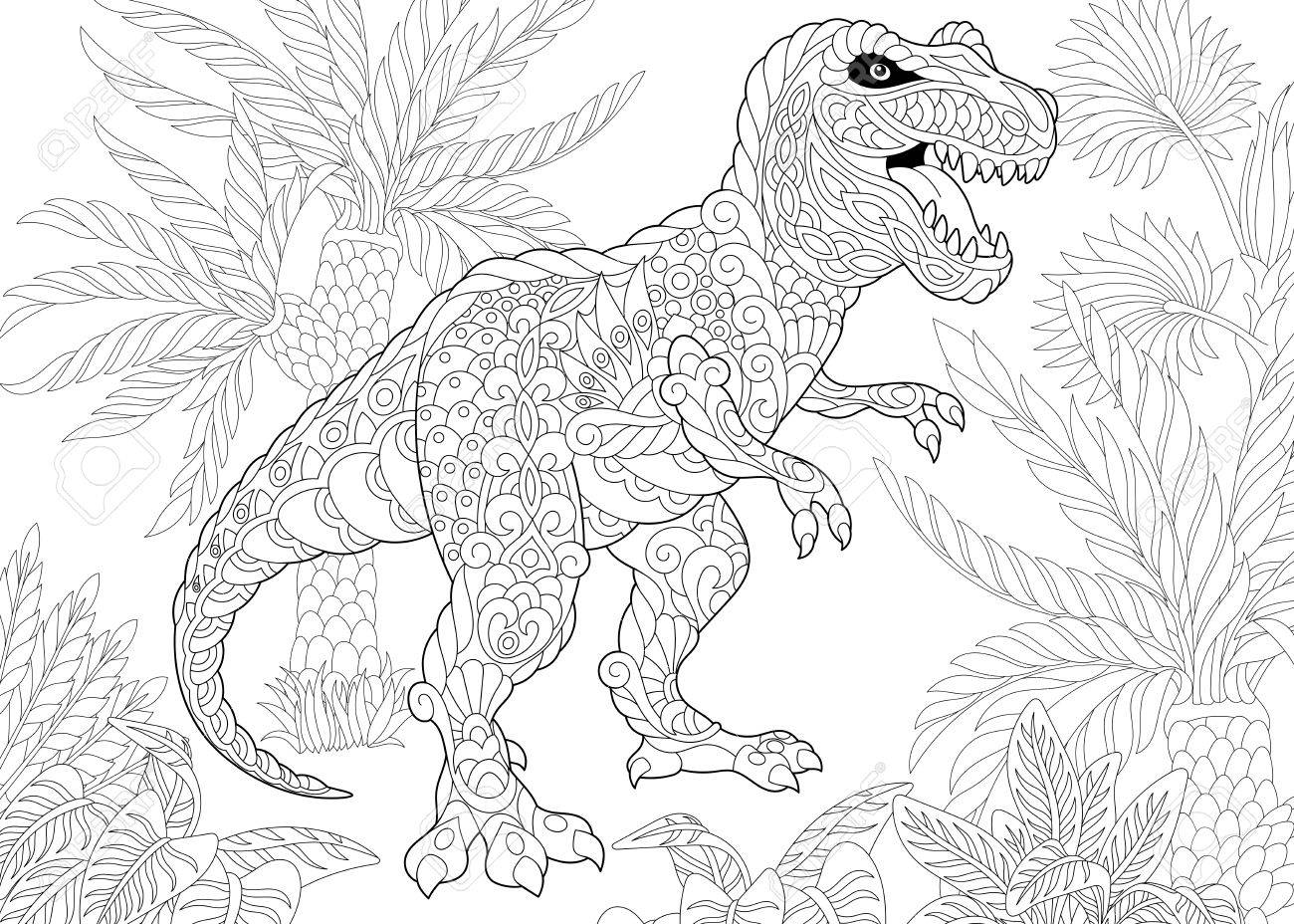 1300x928 Stylized Tyrannosaurus (T Rex) Dinosaur Of The Late Cretaceous