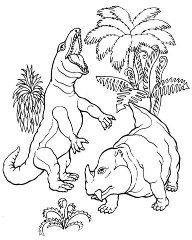 385x480 T. Rex Vs. Dicynodont Dinosaur Coloring Page Free Printable
