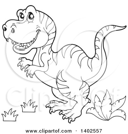 450x470 Clipart Of A Black And White Lineart Tyrannosaurus Rex Dinosaur