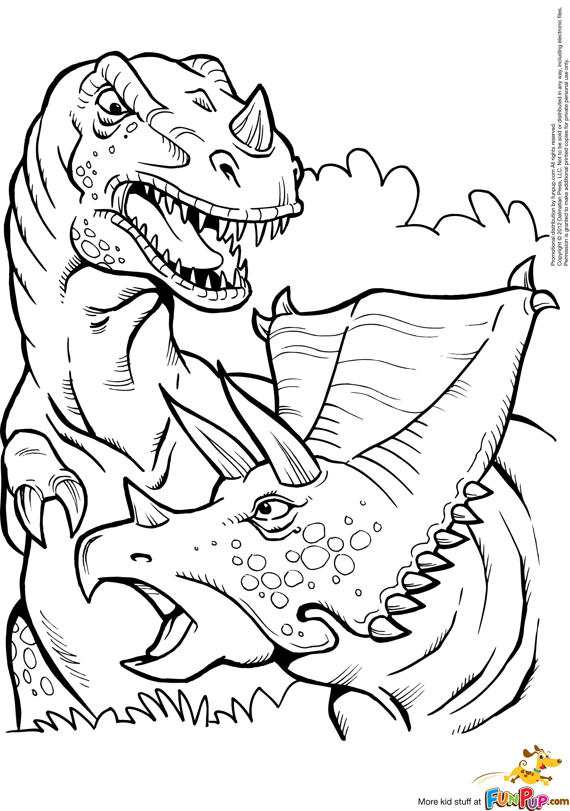 2181x3101 Kleurplaat Printable T Rex And Triceratops Coloring Page