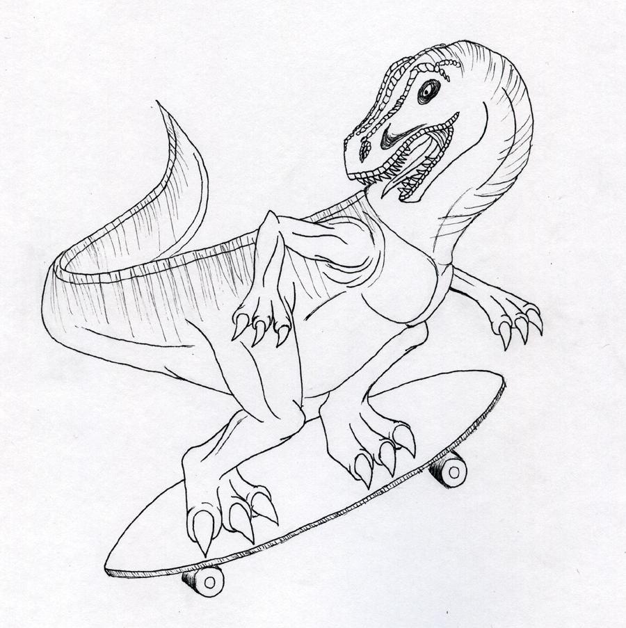 900x903 Longboarding T Rex Style By Goldfox