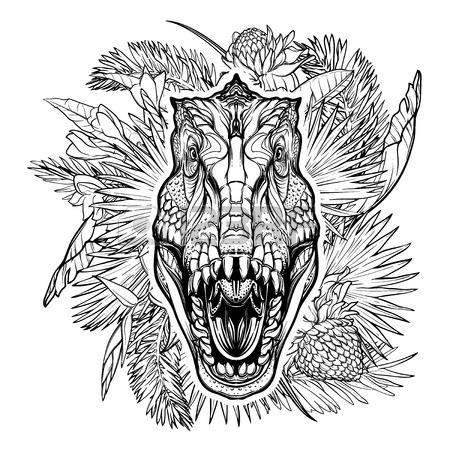 450x450 Paleonthology Seamless Pattern. Detailed Sketch Style Drawing