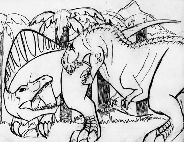 600x464 Spinosaurus Vs. V. Rex By Rixshaw