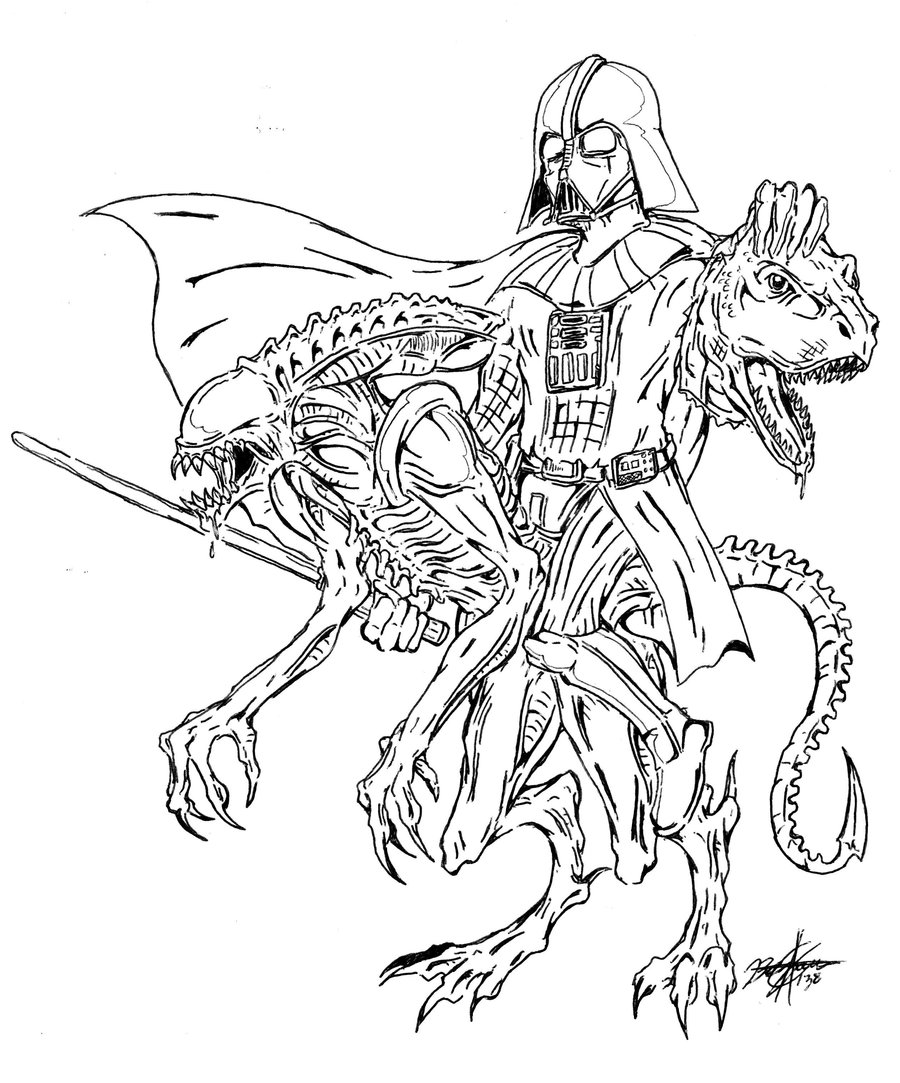 900x1083 Vader, Alien And T Rex By Gravelord138