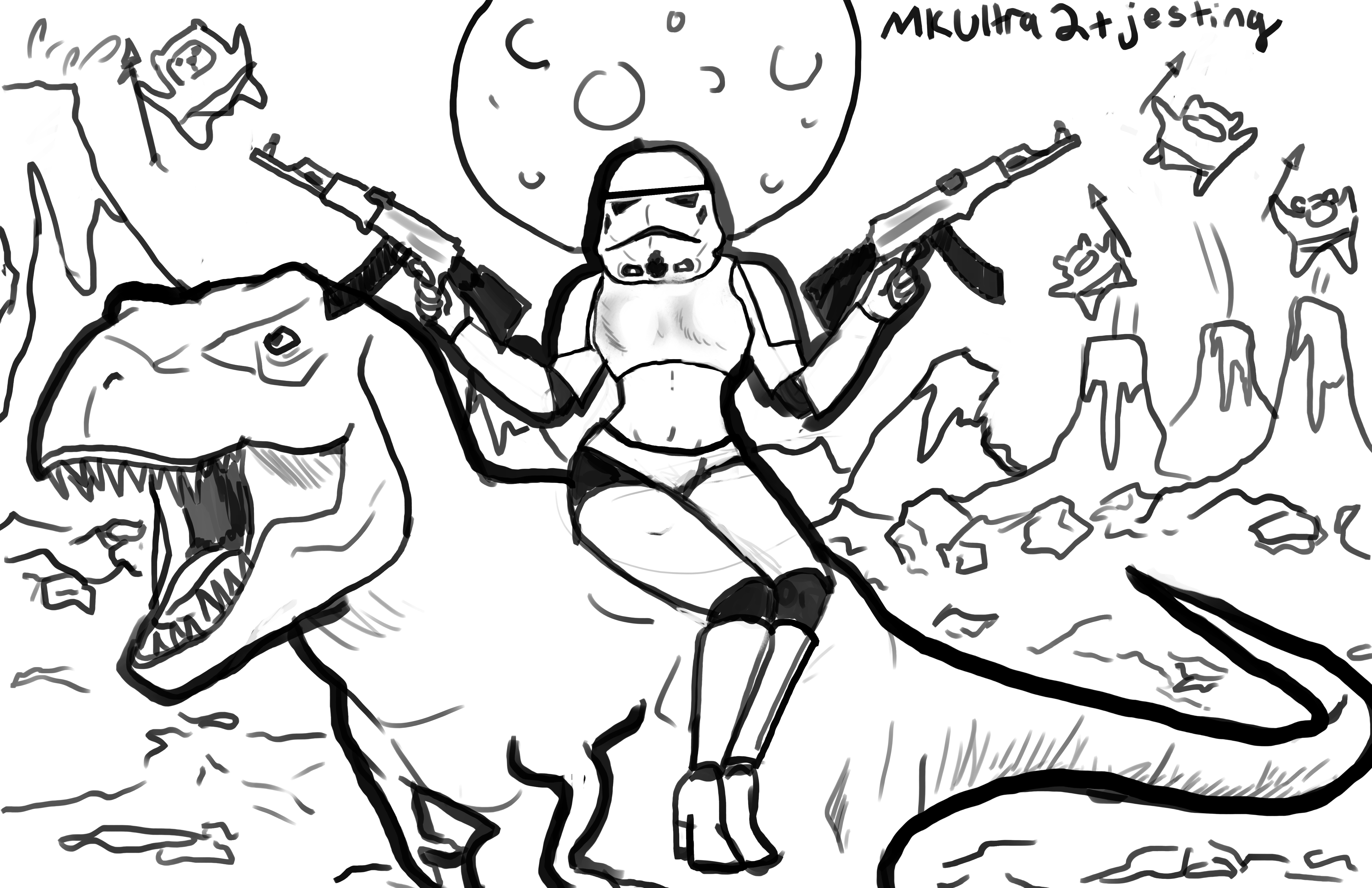 5100x3300 Draw A Sexy Stormtrooper Riding A T. Rex While Shooting Ak 47s