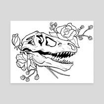 210x210 T Rex Skull, An Art Print By Fox