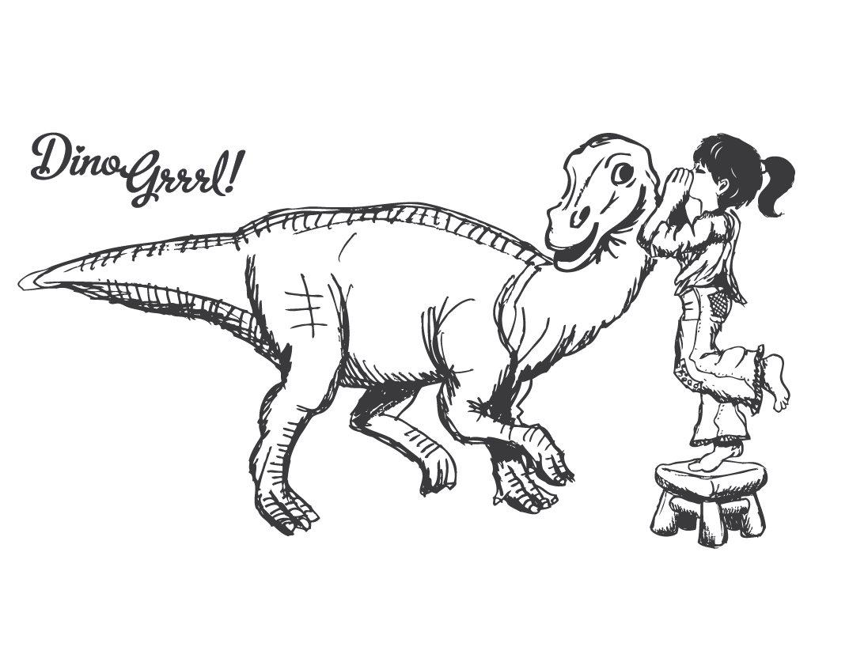 1073x832 Dino Grrrl T Shirt Design Sketch By Jax Max