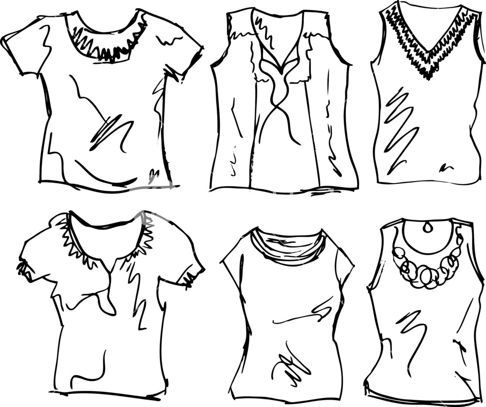 1000x839 Sketch Of Women's T Shirt. Vector Illustration Royalty Free Stock