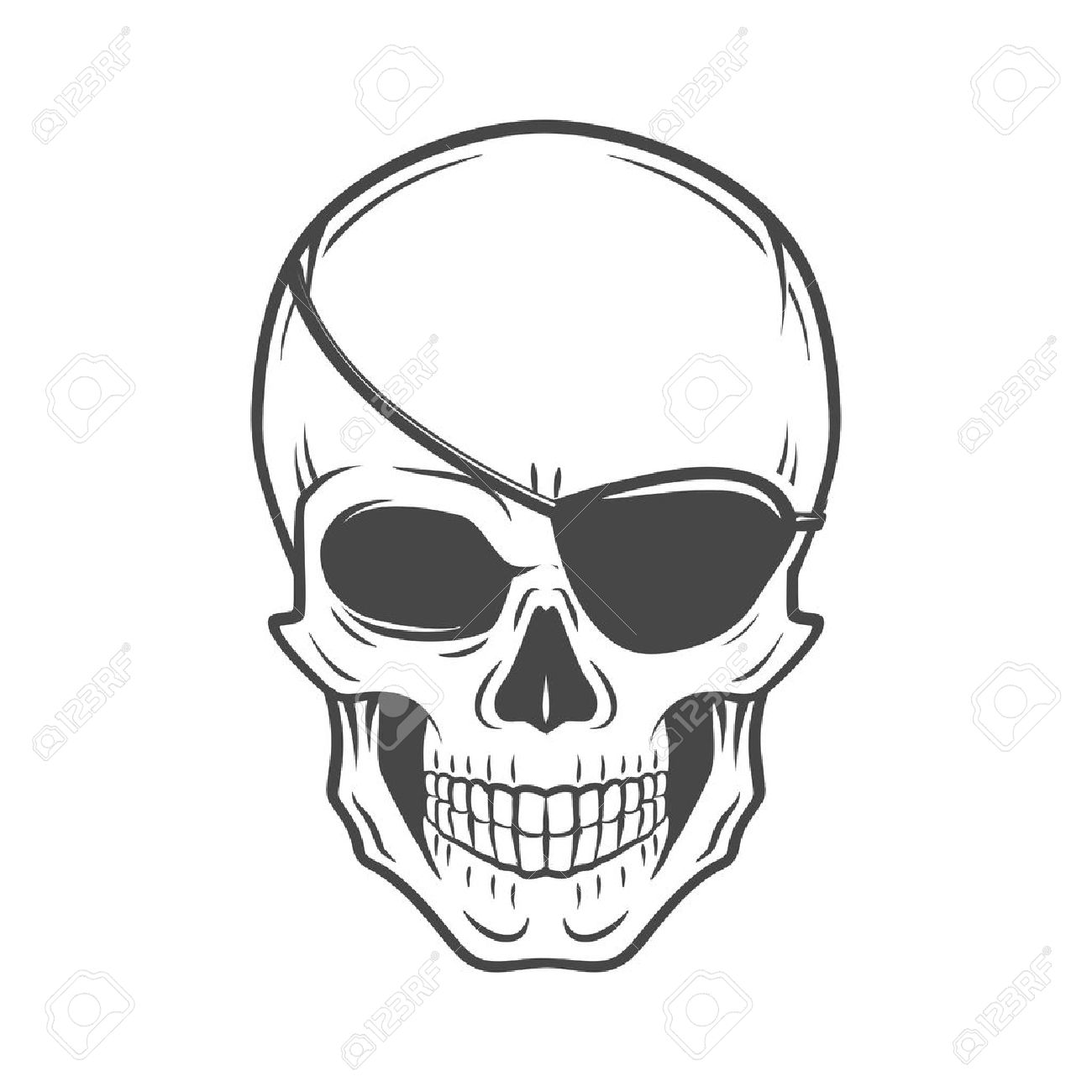 1300x1300 Jolly Roger With Eyepatch Logo Template. Evil Skull Vector. Dark