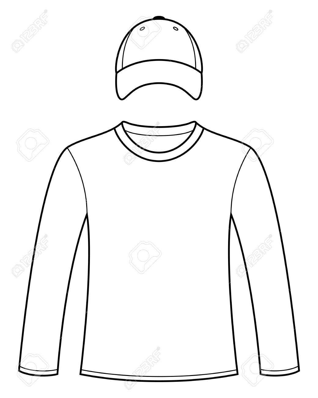 1040x1300 Long Sleeved T Shirt And Cap Template Royalty Free Cliparts