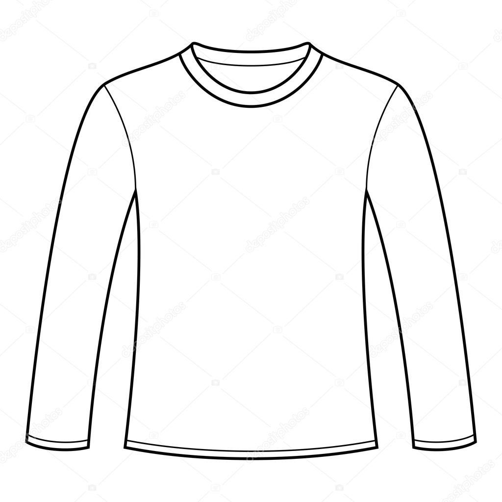 1024x1024 Long Sleeved T Shirt Template Stock Vector Nikolae